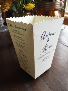 Mini Popcorn Box Wedding Program - 4 Sided Favor Box by ericksondesign on Etsy