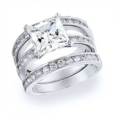 Bling Jewelry 925 Sterling Channel Set Princess CZ Engagement Wedding... ($67) ❤ liked on Polyvore featuring jewelry, rings, clear, engagement rings, cz engagement rings, stacked wedding rings, channel set engagement ring and cubic zirconia engagement rings