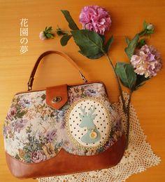 ★即納可★ゴブラン織りのドクターズバッグ「花園の夢」カラー/コーラル - メルヘン仕立てのバッグやさん kabott web shop