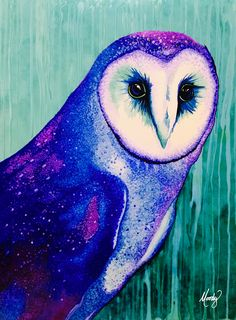 "Lapis Tyto (blue barn owl) painting - by Monica Moody - alcohol inks on Yupo, 18"" x 24"" - http://www.monicamoody.com"