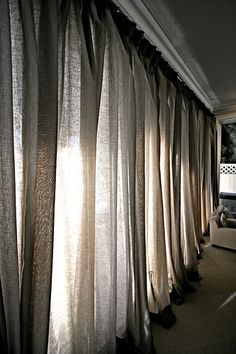 Curtain Wall - sheer linen in 3 color ways.
