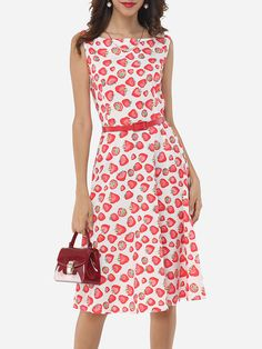Assorted Colors Floral Printed Zips Delightful Round Neck Skater-dress