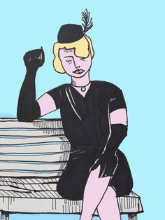 ART EVERY DAY NUMBER 38 / DRAWING / BLACK DRESS is about a woman who has experienced a dramatic change.   In her black dress and long gloves the woman begins anew. This is her new beginning.  One small piece of art a day / Janet Bright