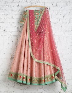 SwatiManish Lehengas SMF LEH 147 17 Pink bow lehenga with rose pink dupatta and threadwork blouse