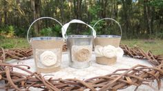Set of 3 Rustic Wedding Centerpiece Burlap by theBluebirdStudio, $15.00