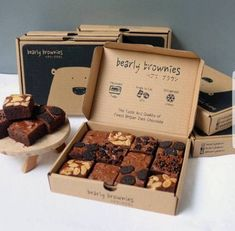 packaging brownies for bake sale . packaging brownies for gifts Brownie Packaging, Baking Packaging, Biscuits Packaging, Bake Sale Packaging, Dessert Packaging, Bread Packaging, Food Packaging Design, Box Packaging, Sandwich Packaging