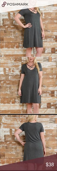 Mini dress Gray crisscross strap dress, soft fabric, loose and flowing. Bellino Clothing Dresses Mini