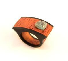 Gaboon Ebony, Burma Padauk and mineral ring.