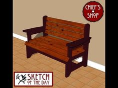 Sketch of the Day: Rustic Foyer Bench #woodworking – Chief's Shop