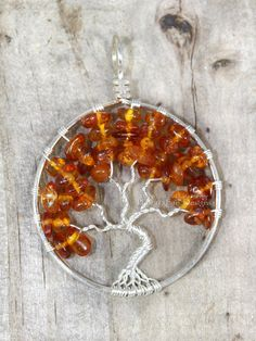 Baltic Amber Tree of Life Pendant Wire Wrapped by PhoenixFireDesigns