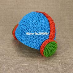 2015 Handmade Crochet Baby Boys Hat Headphone Beanie Winter Children Headset Knitted Hat Toddler Newborn Photo photography props