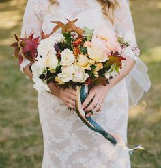 Gorgeous fall bouquet with maple leaves + garden roses