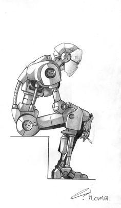 Робо-перекур рисунок, Робот, графика, карандаш, эскиз, арт