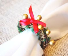Christmas Napkin Rings Set 8 Gold Ball by RusticHearthandHome, $32.00