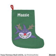 Funny Christmas Shark with Red Nose Small Christmas Stocking