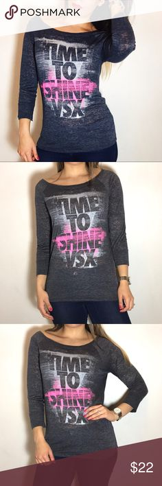 VSX 'Time to Shine' Graphic Top VSX 'Time to Shine' Graphic Top. -Size M. -Excellent condition.  NO Trades. Please make all offers through offer button. Victoria's Secret Tops Tees - Short Sleeve