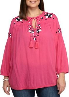 Crown  Ivy   Plus Size Embroidered Tassel Peasant Top