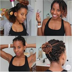 Protective Hairstyle ❤ can find Natural hair twists and more on our website. Natural Hair Twists, Long Natural Hair, Natural Hair Updo, Natural Hair Journey, Natural Hair Styles, Braided Hairstyles, Dreadlock Hairstyles, Black Hairstyles, Natural Protective Hairstyles