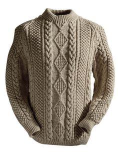 Irish Knit Sweaters don't get any better than our Clan Aran sweater. Authentic hand knit Aran wool sweaters direct from the Aran Sweater Market, Aran Islands, Ireland. Knitting Patterns Free, Knit Patterns, Baby Knitting, Hand Knitted Sweaters, Wool Sweaters, Irish Sweaters, Knitwear, Knit Crochet, Men Sweater