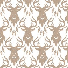 Raven Stag Neutral fabric by phantomssiren on Spoonflower - custom fabric