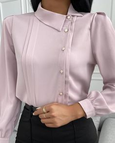 Trend Fashion, Fast Fashion, Look Fashion, Womens Fashion, Estilo Dandy, Plain Shirts, Mode Hijab, Long Sleeve Bodysuit, Blouse Styles