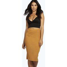 Boohoo Basics Mindy Midi Skirt ($10) ❤ liked on Polyvore featuring skirts, mustard, tie-dye maxi skirts, high waisted pencil skirt, pencil skirt, midi skater skirt and skater skirts