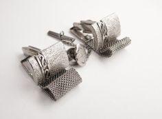 Vintage Wrap Mesh Cufflinks Silver Bonus Tie by NeatstuffAntiques, $50.00