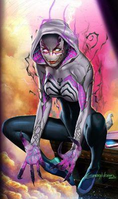 """redskullspage: """" Edge of Venomverse #1 Gwenom by Greg Horn """""""
