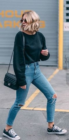 #summer #outfits Black Knit + Ripped Skinny Jeans