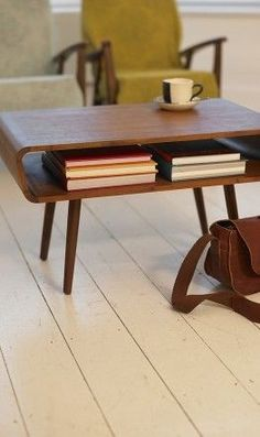 Mid-century teak coffee table with storage. Beautiful lines, sleek design. Retro Furniture, Home Furniture, Furniture Design, Wooden Furniture, Furniture Stores, Antique Furniture, Furniture Ideas, Furniture Removal, Outdoor Furniture
