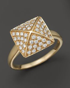 Diamond Pave Pyramid Ring in 14K Yellow Gold, 0.45 ct. t.w.