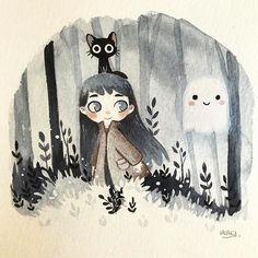 Ghost buddy by lauresillus Halloween Illustration, Children's Book Illustration, Illustrations, Digital Illustration, Hansel Y Gretel, Halloween Art, Cute Drawings, Cat Art, Art Inspo
