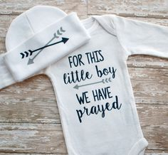 Baby boy coming home outfit. For this little boy we have prayed.