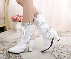Victorian Boots & Shoes - Granny Boots & Shoes Lace Ankle Boots, Mid Calf Boots, Shoe Boots, Women's Shoes, Hipster Shoes, Victorian Boots, Wedding Boots, Leather Shoes, Patent Leather