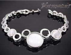 Корейский стиль серебряный шарм браслеты австрия кристалл браслет для женщин.
