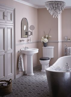 Heritage Bathrooms Claverton suite with Holywell freestanding metallic bath. - Fall in love with your bathroom again by selecting a vintage powder room theme with our Claverton suite. Blush pink walls can evoke that end-of-era regency romance, ideal for relaxing.