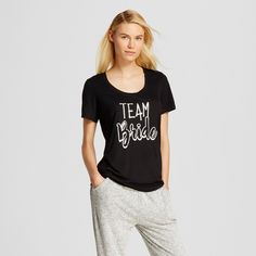 Love and Cherish Women's Team Bride Pajama T-Shirt - Black XS