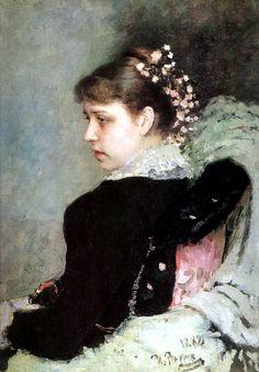 'タチアナRechinskayの肖像', オイル バイ Ilya Repin (1844-1930, Finland)