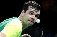 Israel Pereira Stroh of Brazil in action against William Bayley of Great Britain during  the prelimimary round of the Men's's Table Tennis on day 1 of the Rio 2016 Paralympic Games at  on September 8, 2016 in Rio de Janeiro, Brazil.