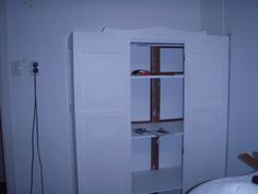 making an old wardrobe into a built-in bedroom  cupboard