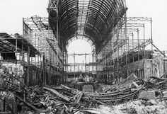Crystal Palace, Sydenham, London, in ruins following the fire of 30 November 1936. © RIBA Library Photographs Collection