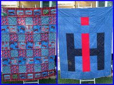 IH/Farmall Rag Quilt I made for my other half ~ he loves Farmall antique tractors! =)