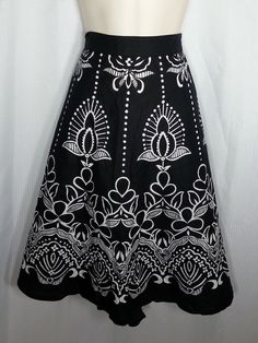 SW Skirt XL Black White Floral 100% Cotton Lightweight Boho  #SW #skirt