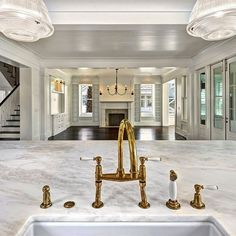 WHITE MARBLE COUNTER | SHAW SINK | WATERWORKS FIXTURES | Kitchen to Living Room | Shiplap Wrapped Ceiling and Walls
