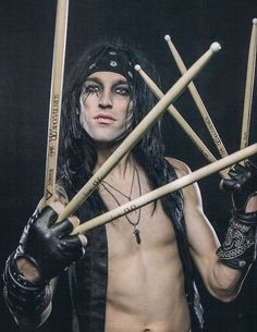 cc the drumer of black veil brides also know as cc drumstick hands and x-man