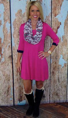 Cuffed Up Cutie: Pink aztec scarf