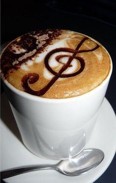 Chocolate Musical note on a cappuccino Coffee Shop, Coffee Latte Art, I Love Coffee, Coffee Cafe, Coffee Break, Coffee Drinks, Morning Coffee, Cappuccino Art, Coffee Lovers