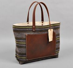 Hill-side Blanket Lining Stripe Tote  Stanley and Sons Apron and Bag Co.  Hickoree's Hard Goods