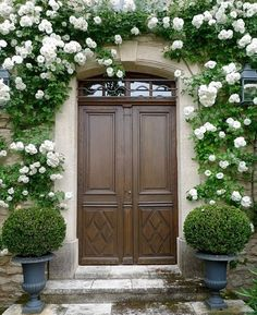 With those cascading white roses, a beautiful entry!
