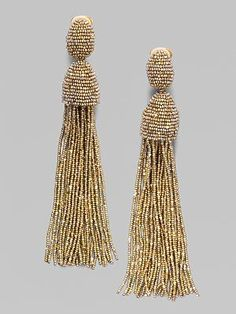 Oscar de la Renta Beaded Fringe Earrings